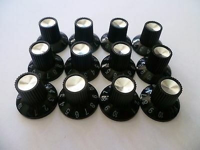 12 Black Plastic Amp Tone Volume Control Knobs Fender Guitar Amplifier Switch