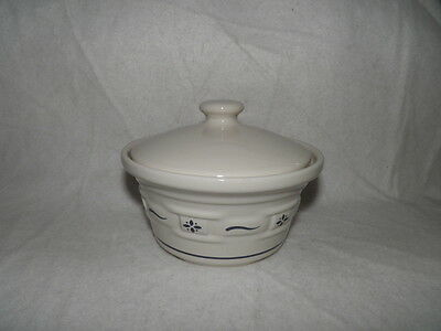 Longaberger Pottery Small Covered Dish Heritage BLUE Woven Traditions