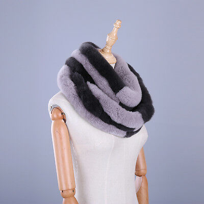 New Real Rex Rabbit Fur Women's Winter Cowl Scarf Circle Scarves Patchwork Ring