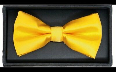 Yellow satin bow tie elastic attachment for kids toddler baby FAST SHIPPING!