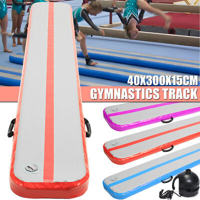 Inflatable GYM Floor Air Tumbling Track Gymnastics Practice Training Mat + Pump