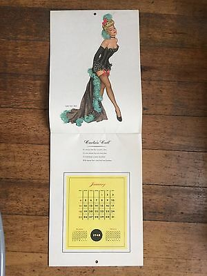 1948 Esquire Full Year Pin Up Girl Calendar Various Famous Artists Very Nice!