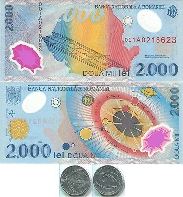 Romania N027 1999, 500 Lei coin & 2000 Lei UNC polymer note, Total Solar Eclipse