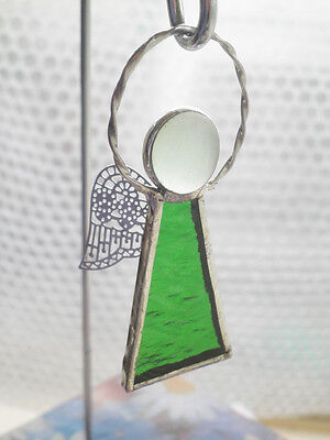 Leadlight Stained Glass Green Angel Halo Silver wings handmade Australia