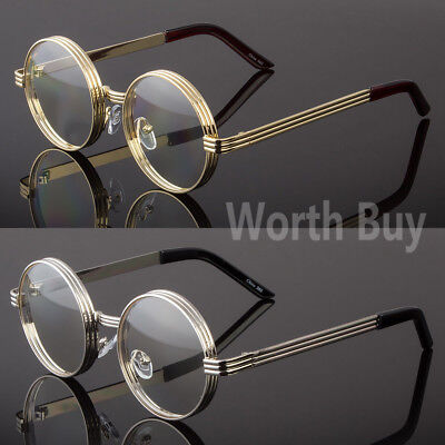 Mens Womens Clear Lens Round Steampunk Retro Fashion Eye Glasses Hipster Frame