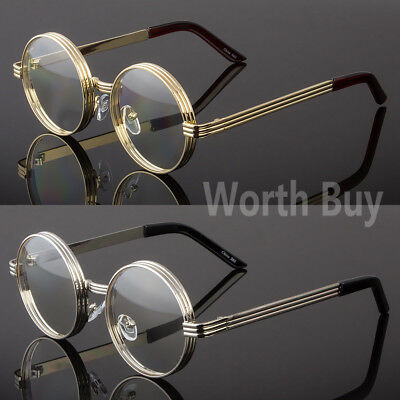 New Mens Womens Round Fashion Retro Vintage Clear Lens Glasses Frame Steampunk