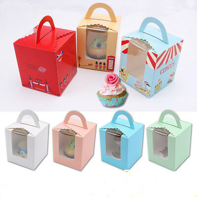 Cupcake Boxes With Handle Window Muffin Boxes Cookie Bakery Cake Box Insert Tray
