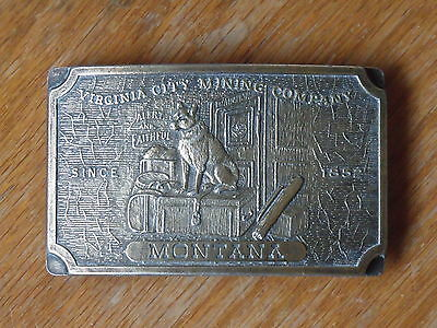 Virginia City Mining Company Montana Since 1852 Brass Rectangular Belt Buckle