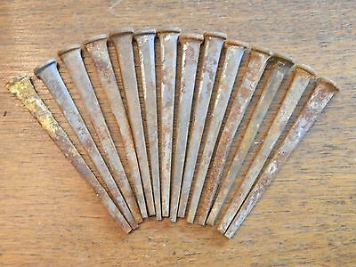 15 Antique Vintage Square Nails, Lot of Rustic Old Spike Nails Rusty Iron Nail
