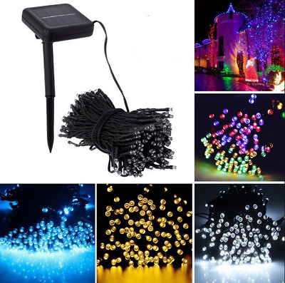 12M 100 LED Solar Flashing&Persistent Fairy String Lights Outdoor Garden Decor