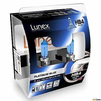 Lunex HB4 PLATINUM BLUE 12V 55W Headlight Bulbs Super Blue 9006 P22d Set 4700K