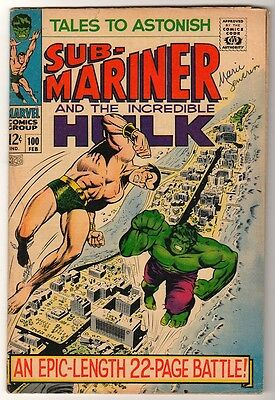 Marvel TALES TO ASTONISH 100 HULK SUB MARINER last but one issue  VG