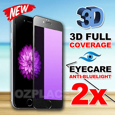 2X 3D Full Cover anti blue light Tempered Glass Screen Protector for iPhone7Plus