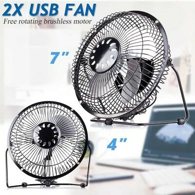 "2 X USB Fan Metal 7"" Portable Cooling Desk Table Mini Fan Computer LapTop PC MAC"