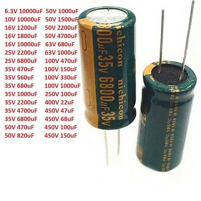 6.3V-450V 22uF-10000uF Nichicon High Frequency Radial Electrolytic Capacitors