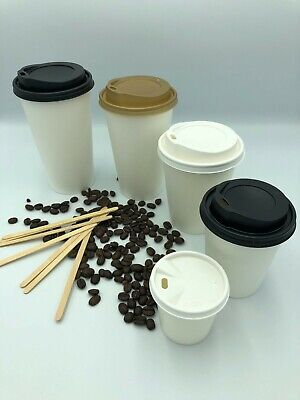 SINGLE WALL PAPER CUPS 500 x 8oz 12oz WHITE FOR COFFEE TE HOT COLD DRINKS & LIDS