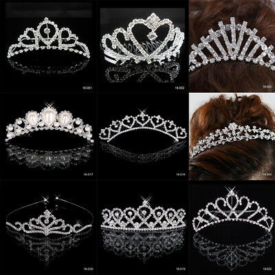New Design Silver Bridal Tiara Diamante Rhinestone Crown Wedding Party Headband