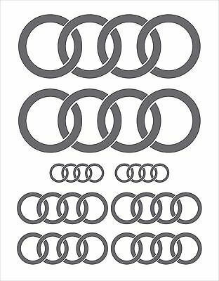 COMPLETE 8 PCE SET: AUDI RINGS STICKERS DECALS in SILVER GREY METALLIC GLOSS