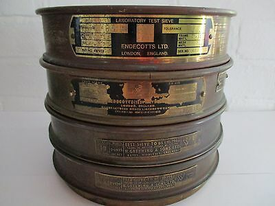 Vintage brass scientific  test sieves (2x Endecotts and 2 x N Greening and Sons)