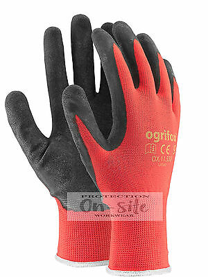 12 or 24 PAIRS NEW LATEX COATED NYLON WORK GLOVES SAFETY GARDEN GRIP BUILDERS