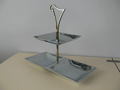Beautiful Vintage 2 Tier CHROME/STAINLESS CAKE SERVING TRAY Everbright Japan VGC