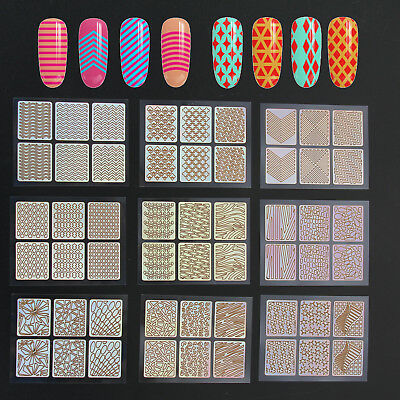 24 Sheets 3D Nail Art Tip Vinyl Hollow Stencil Guide Decal Manicure Stickers DIY