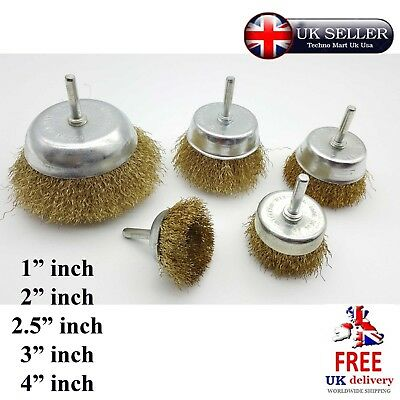 Wire Brush Wheel Cup Drill 6MM Shank Attachments Deburring Edges Rust Removal
