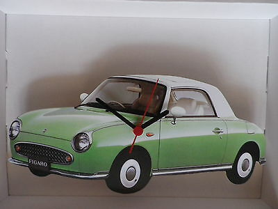Vintage Nissan Figaro Car Green / White Design Wall Clock. New And Boxed.