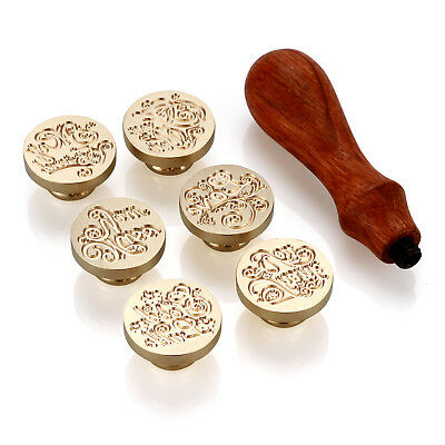 6 X Classic Initial Sealing Wax Stamp Retro Wood For Wedding Invitation Letters