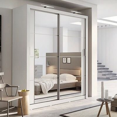 Brand New Modern Bedroom Sliding Door Wardrobe Arti 3 181cm in Matt White Mirror