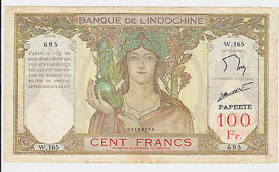 Tahiti Bank Note 1939 - 1965 series 100 Francs ND Banque de L'Indochine Papeete
