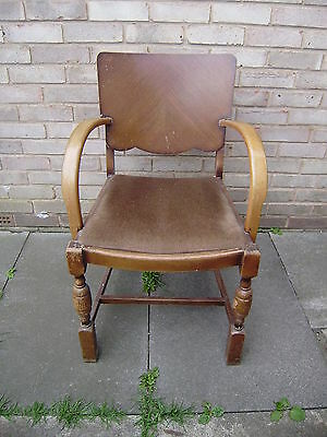 Art Deco French Bentwood Arm Chair Raised On Turned Supports Spring Padded Seat