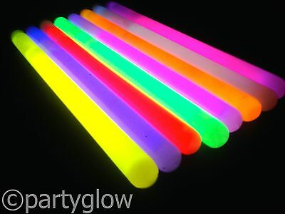 "100 x 6"" x 10mm Glow Sticks Party Festival Rave Glow Sticks Light Stick Glostick"