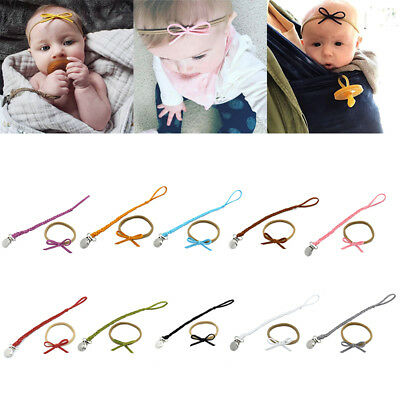Baby Girls Infant casual Hairband Knotted party Headband & Soother Holder Chain