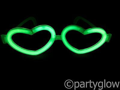 "25 x HEART Glow Glasses Connectors Use With 8"" Glow Sticks Raves Festivals"
