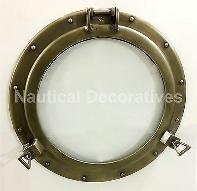 "20"" Aluminum Porthole Antique Finish~Porthole Glass Ship Window Home Decor"