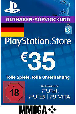 35 EURO PSN Network Code - 35€ Eur PlayStation Guthaben Key PS3 PS4 PS Vita - DE