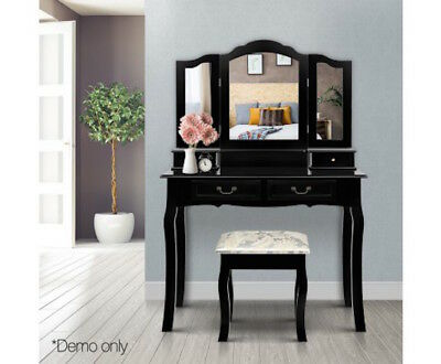 4 Drawer Dressing Table Makeup Black With Stool 180 degree Rotatable Mirror NEW