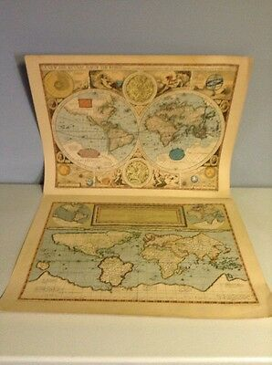 Set of two Maps of the World- Gerard and Cornelis de Jode 1589- John Speed 1627