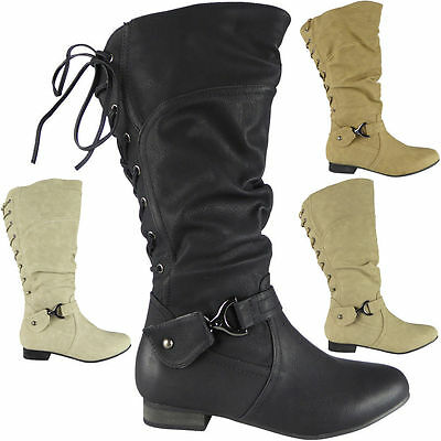 Womens Ladies Faux Leather Flat Lace Up Mid Calf Low Heel Work Boots Shoes Size