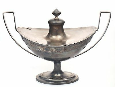 Antique Russian 84 hallmark silver utensil container dish with lid
