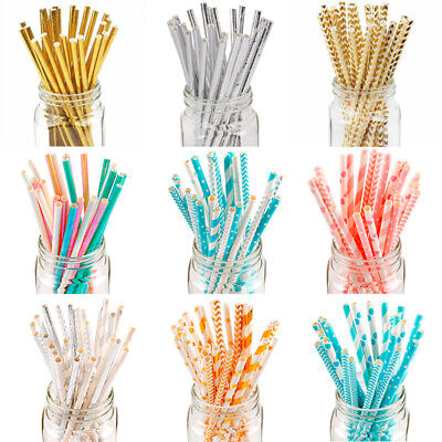 25Pcs Paper Drink Gold Striped Straws Baby Shower Supplies Birthday Party Decor