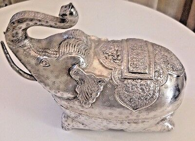 Large Cambodian Silver Box Betel Box Elephant Great Vintage Condition