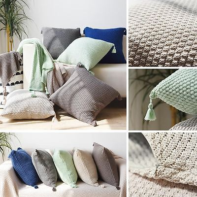 Premium Cotton Knitted Tassel Pillow Case Cushion Cover for Sofa couch Home Deco