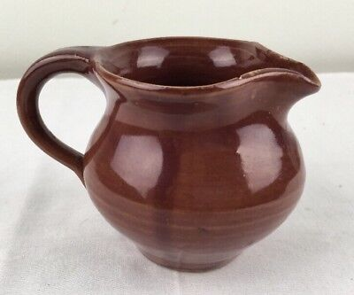 Vtg Older Southern Pottery Creamer Pitcher KY Bybee Waco ? Maroon w Flea Bites