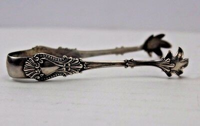 Antique Sterling Silver Repousse Design Sugar Tongs 11.0 grams