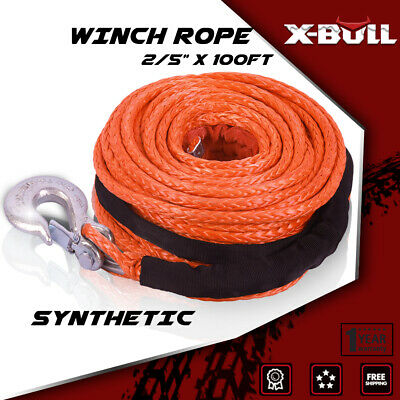 """X-BULL 2/5""""x100ft Synthetic Winch Rope Recovery 23000LBS 4WD Orange"""