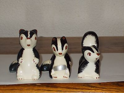 Three Robert Simmons Pottery Skunks Collection Tallest 3""