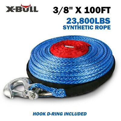 """X-BULL 2/5""""x100ft 23000LBS Synthetic Winch Rope Blue Recovery 4WD ATV"""