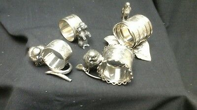 Antique Victorian Silverplate Figural Napkin Rings Set Of Four (4)